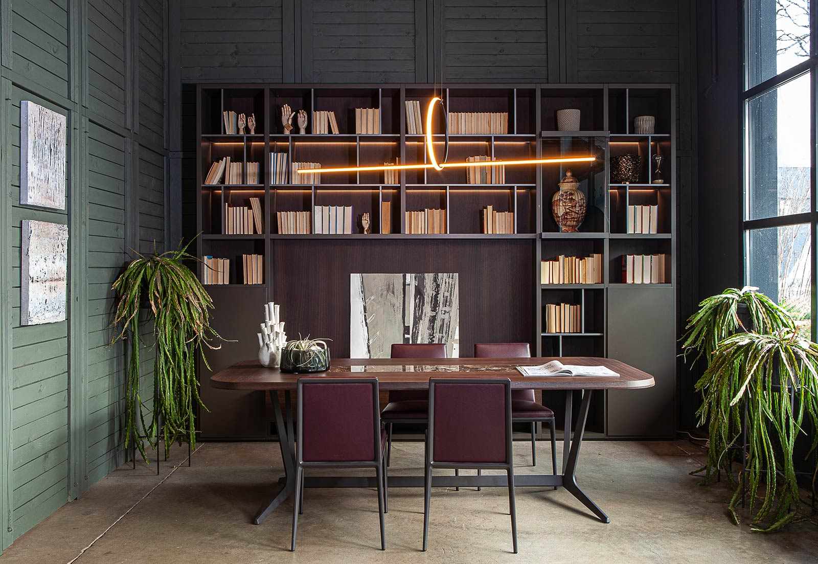 libreria wall system poliform e tavolo astrum maxalto